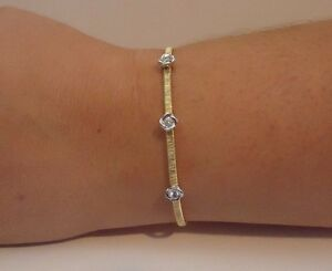 ITALIAN 3 ROSE OPEN BANGLE W/ ACCENTS /18K YELLOW GOLD OVER 925 STERLING SILVER