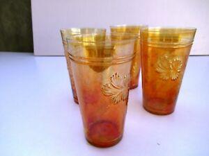 "Antique Carnival Glass Fantasy Flower Tumbler Jain Paliwal Glass Works 4 Pc Lot"""