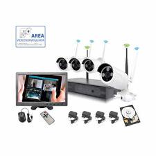 "KIT VIDEOSORVEGLIANZA WIRELESS FULL HD IP 4 TELECAMERE 2 MPX WIFI MONITOR 10"" HD"