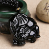 Natural Black Obsidian Hand Carved Elephant Pendant Lucky Beads Necklace Jewelry