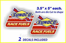 2 Sunoco Racing Fuel Stickers Decals Use on Right & Left Custom die cut shapeNEW