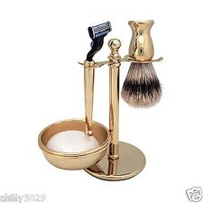Kingsley GOLD PLATED SHAVE SET 4pc, Mach 3 Razor, Brush, Stand, Bowl, Free Soap