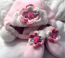 PINK FAUX FUR FLEECE HAT MITTENS SET 3 6 12 18 MONTHS GIRLS BABY INFANT TODDLER