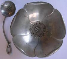 Danish Artist Ernst Dragsted Signed Bowl & Spoon Daisy Dish & Spoon Pewter