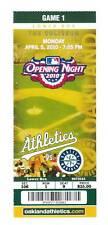 Oakland Athletics 2010 Opening Day Unused Ticket Stub