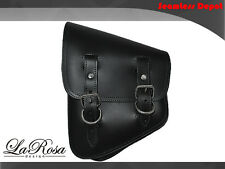 La Rosa Harley Softail Rigid Black Leather Left Swing Arm Saddle Bag