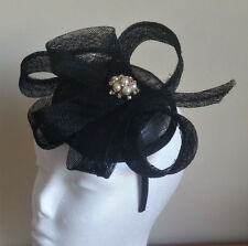 STUNNING BLACK SINAMAY FASCINATOR WITH PEARLS, CRYSTALS & LOOPS, SPRING RACING
