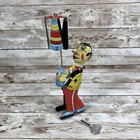 Man Spin Umbrella Tin Wind Up Toy 1980s Reproduction