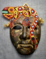 Vintage Huichol Ceramic Mask With Beaded Iguana