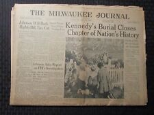 1963 Nov 26 MILWAUKEE JOURNAL Newspaper VG 4.0 JFK Death Burial