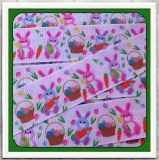 "Bunny Spring Basket 5 yards grosgrain ribbon 7/8"" Twrh"