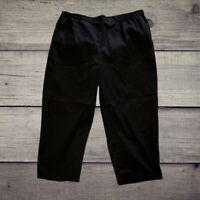 Ulla Popken Plus Size 20 / 22 Vented Stretch Capri Pants Black Pockets