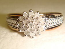 RING 10Ct Gold & Diamond Cluster  Size N. 1/2  US 7