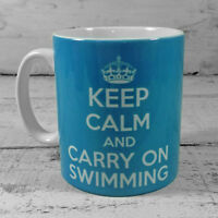 NEW KEEP CALM AND CARRY ON SWIMMING GIFT MUG CUP PRESENT costume SWIMMER fitness