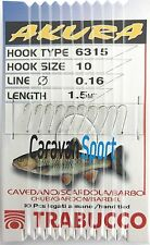 EYELESS HOOKS 6315 AKURA TRABUCCO SIZE 12 0,16 mm FISHING 150 CM THEY FELL SEA