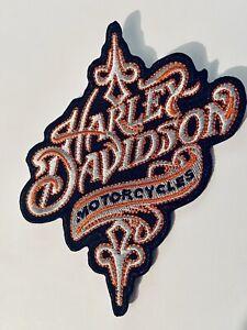 Harley Embroidered ladies biker patch emblem orange trim