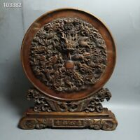 A Old Chinese Boxwood wood Hand carved Dragon Beads phoenix Screen Byobu Statue