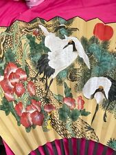 """Chinese Bamboo Paper Fan Wall Decor Vintage-36' tall 60"""" wide - Cranes"""