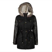 NEW Girls Boohoo Black Leather Sleeve Parka Jacket Coat Winter Age 5 6 7 8 9 10