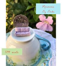 1:144 Scale Handmade Dollhouse Miniature Teeny Tiny Lovely Lilac Couch