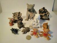 VTG Bear Figurines Porcelain/Resin lot of 15, Blk, Brn, Polar, & Koala Bears