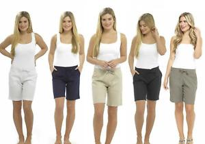 Womens Linen Shorts Knee Length Summer Casuals Sizes 10 12 14 16 18 20 22 24