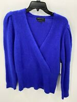 Something Navy Womens Small Blue Alpaca Blend Sweater V-Neck NWT