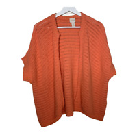 Chicos 3 Womens Cardigan Sweater Short Sleeve Open Front Ribbed Orange Size XL