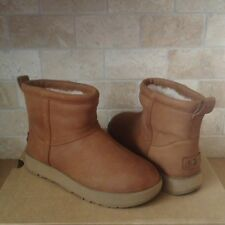 UGG Classic Mini Chestnut Waterproof Leather Sheepskin Boots Size US 7.5 Womens
