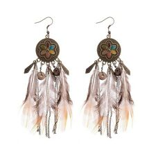 Women Bohemian Boho Style Multi-color Round Brown Feather Tassel Hook Earrings