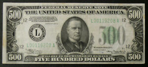 1934-A $500 SAN FRANCISCO FED RESERVE NOTE Fr#2202-L HIGH GRADE VFXF? NOTE