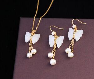 D12 Set Gold Plated Ohrringe Halskette Butterflies Jade Freshwater Pearls Tassel