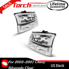 For 2003 2007 Chevy Silverado Clear Headlights Headlamp Bumper Signal Lamps Fits 2004 Avalanche 1500