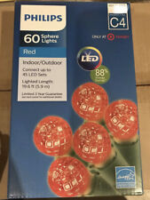 Philips 60 LED Red Sphere Christmas String Lights Indoor Outdoor Green Wire C4