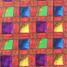 Vintage Sewing Fabric Remnant House Absract Geometric 85 x 70cm