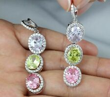 OVAL HALO CZ CHANDELIER DANGLE EARRINGS STUD WEDDING BRIDAL PROM CZ12307M MULTI