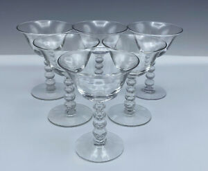 6 Imperial Candlewick Elegant Glass Champagne Sherbet Glasses 3400 Stem 5 1/8""