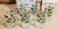 Set of 6 Indiana Glass 16oz Holly & Berry Holiday Bevel Base W/Box # 30130