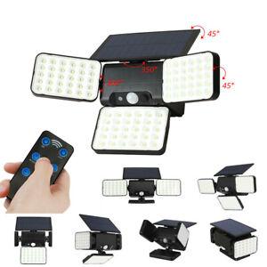 3 Heads Solar Security Lights Motion Sensor Garden Wall Lamp Spotlights + Remote