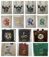 Harry Potter Tote Reusable Canvas Shopping Shoulder Bags 4 Houses Print Primark