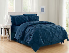 NEW MODERN & CONTEMPORARY DIAMOND PINCHED PINTUCK COMFORTER BED SET 2/3 PIECES