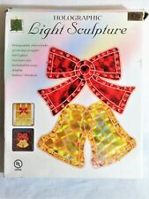 New in Box 2002 Christmas Avenue Holographic Light Sculpture Christmas Bells
