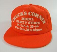 Chucks Corner Mobil Gas Cap Hat Strapback Marion Michigan Orange USA