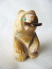 NATIVE AMERICAN ART - ZUNI BEAR WITH FISH  FETISH - SIGNED  TYLER AND JOANN QUAM