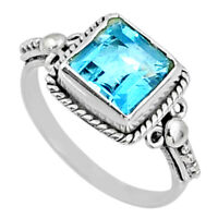 3.29cts Natural Blue Topaz 925 Sterling Silver Solitaire Ring Size 7.5 R64910