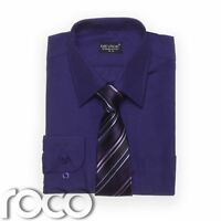 Boys Purple Shirt, Cadbury's Purple, Shirt & Tie Set, Boys Dress Shirts