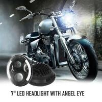 """DOT Approved 7"""" LED Headlight Halo MOTORCYCLE BLACK Projector DRL Fit For Harley"""