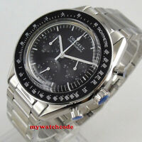 40mm corgeut black dial steel bracelet quartz full chronograph mens watch 176B