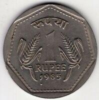 1985 INDIA 1 ONE RUPEE  WORLD COIN NICE!
