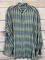 Jhane Barnes Mens Long Sleeve Gray Blue Vertically Striped Dress Shirt EC XL